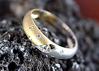 Solid 18K. White & Yellow Gold Ring with 7 Diamonds