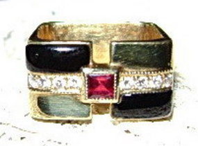 Avant-Garde Black Onyx-Ruby-Diamond Ring 18K. Gold