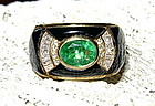 Egyptian Solid 18K. Gold Ring with Emerald & Diamonds