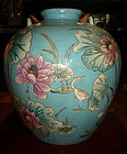 Attractive large Porcelain Polychrome Vase with Lotus