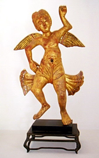 Mandalay Burmese Wooden gilt Cupid Angel Figure 19th Ct