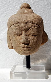 A Sandstone Head of Buddha, Burma, 19th Century