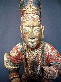 Rare Chinese Polychrome Wooden MING Male DEITY
