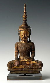 Laotian Wooden Crowned King Buddha, 18th Century