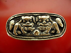 Rare Qing Dynasty Oblong OPIUM Box with Foo Lions