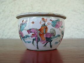 QING Dynasty Polychrome Porcelain Cricket Box