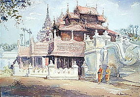 Original Painting of Shwe In Bin Monastery,  Burma