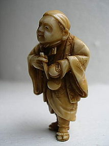 Japanese Meiji Ivory Netsuke of Monk, 19th Century