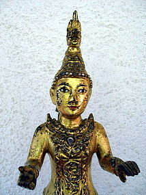Museum Quality Gilt Wooden Burmese Nat, 19th Century