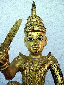 "Antique Gilded Wooden Nat ""U Tint De"", Burma, 19th Century"