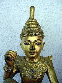 """2 Large Burmese Gilt """"U Tint De"""" Nats, 19th Century"""