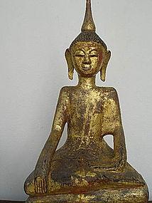 Gilt Hand Carved Wooden Tai Yai Burmese Buddha