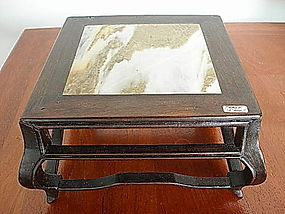 QING Rosewood and Marble Miniature Table, 19th Century