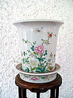 TAO KUANG Chinese Porcelain Planter with Base Saucer