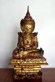 Crowned AMARAPURA Buddha in Royal Attire 18th Century