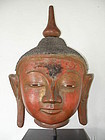 Very Large Dry Lacquer Buddha Head, 19th Century, rare!