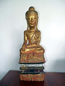 Burmese Wooden Buddha with inlaid Mirror Pieces, 19th C