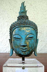 Fine CHIENGSAEN Thai Bronze Buddha Head, 14th Cent.