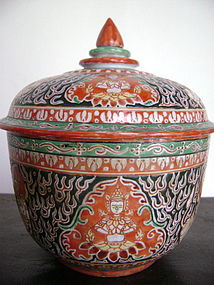 Sino-Siamese Porcelain Benjarong Jar with original lid