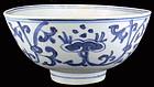 MING Porcelain Bowl with Linzhi fungus in Cobalt Blue