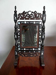 Wooden Chinese Mirror inlaid with Mother of Pearl