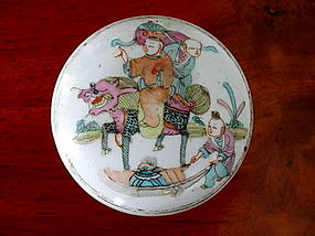 QING Polychrome Round Porcelain Box with cover
