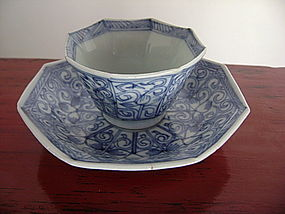 KANGXI Blue&White Octagonal Porcelain Wine Cup&Saucer