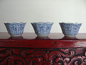 3 Matching KANGXI or YONGZHENG Porcelain Wine Cups