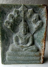 Burmese Jadeite Slab with a Finely Carved Buddha
