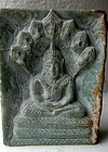 Burmese Jadeite Slab with a Finely Carved Buddha