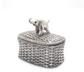 Pewter Woven Basket Elephant Box with Enamel inside