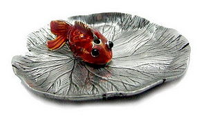 Pewter Lotus Leaf Incense Holder with Enamel Goldfish