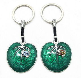 Pewter Key Chain with Enamel Frog on Lotus Leaf
