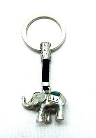 Pewter Elephant Key Chain with Red/Green Enamel Decor
