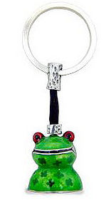 Pewter Key Chain with bright Green Enamel Frog