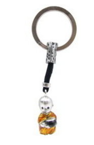 Pewter Key Chain with Enamel Baby Monk and Alms Bowl