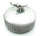 Round Pewter Woven Basket with Enamel and Elephant