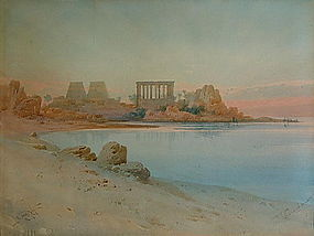 "Original Painting by A. LAMPLOUGH "" PHILAE, EGYPT"""