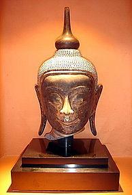 Rare Lacquer Shan State Buddha Head, Burma, 19th Cent.