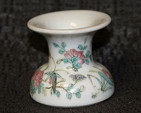 Rare Famille Rose OPIUM Ash-Dross Recipient, 19th Cent.