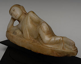 "MANDALAY Alabaster ""Parinirvana"" Reclining Buddha, 19th Century"