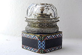 Chinese QING Dynasty OPIUM LAMP with original globe