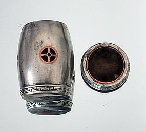 Rare Chinese Silver/Copper OPIUM Roller, 19th Century