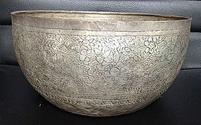 Antique Large THAI SILVER CEREMONIAL BOWL 19th Century