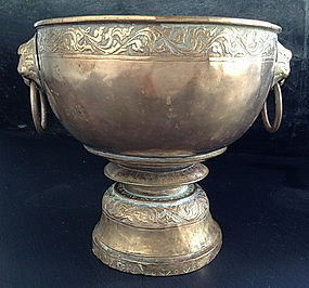 SINO-THAI Brass-Bronze Alloy Censer with Lion Heads