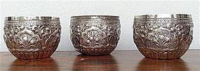 Set of 3 Antique THAI SILVER CEREMONIAL BOWLS 19th C.