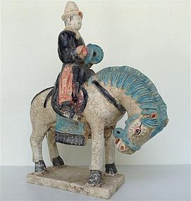 Artistic Polychrome MING Dynasty Tomb Pottery Horse with Musician