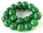Antique QING Peking Glass Green Leopard Guru Beads