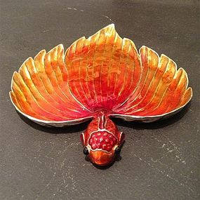 Stunning Enamel/Pewter Goldfish Tray ideal as Gift !