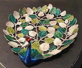 Stunning Enamel-Pewter Peacock Tray